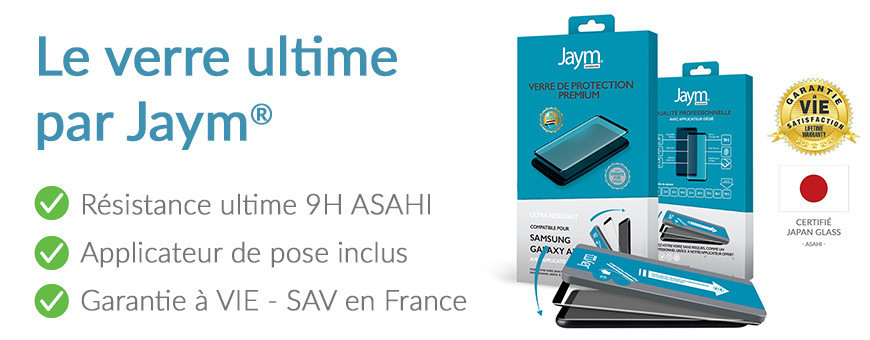 Le verre de protection 'Premium' ASAHI + Applicateur + Garantie à vie