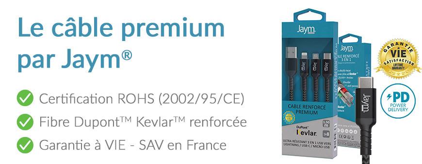 Le câble de charge USB Premium garanti à vie, pensé par Jaym®